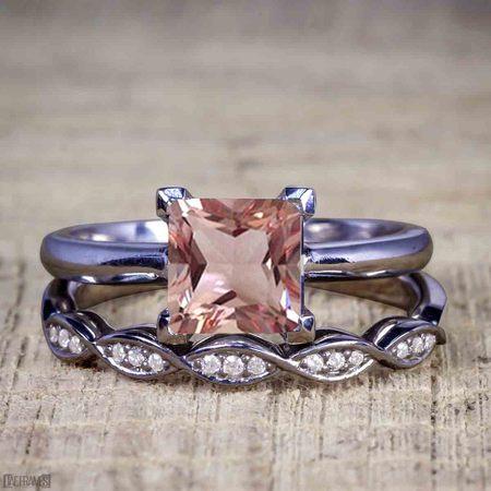 Black And Gold Wedding (1.25 Carat Princess cut Morganite and Diamond Wedding Ring Set in Black)