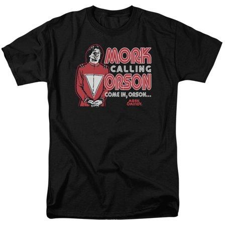 Mork & Mindy Mork Calling Orson Mens Short Sleeve Shirt - Mork Mindy Halloween