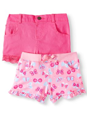 Baby Girls' Print Knit Denim and Twill or Denim Shorts, 2-Piece Multi-Pack