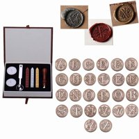 Vintage 26 Letter A-Z Alphabet Initial Seal Wax Badge Stamp Kit with Wicks Gift Box Set,A