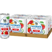 (24 Cans)V8 +Hydrate Plant-Based Hydrating Beverage, Strawberry Cucumber, 8 Oz