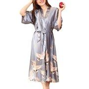 ee99b7b4a4 Women s Satin Long Kimono Robe Nightgown Sleepwear Short Sleeve Belted  Bathrobe Lightweight for Wedding Party