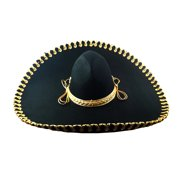 Deluxe Oversize Brim Black Sombrero with gold trim Mariachi hat Adult  Halloween Accessory fad767b4713