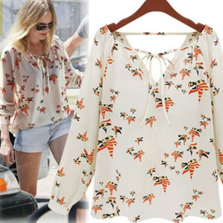 EFINNY New Women Summer Elegant Casual Floral Print Chiffon Long Sleeve Shirts Blouse Tops ()