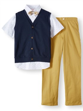 Boys' Dressy Set With Knit Vest, Short Sleeve Printed Shirt, Bow Tie and Twill Pull-On Pants, 4-Piece Outfit Set