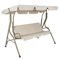 Best Choice Products 2-Person Outdoor Large Convertible Canopy Swing Glider Lounge Chair w/ Removable Cushions