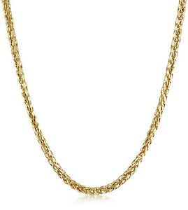 - 14kt Solid Yellow Gold Round Diamond Cut Wheat Chain & Necklace 1.2mm Thick-18