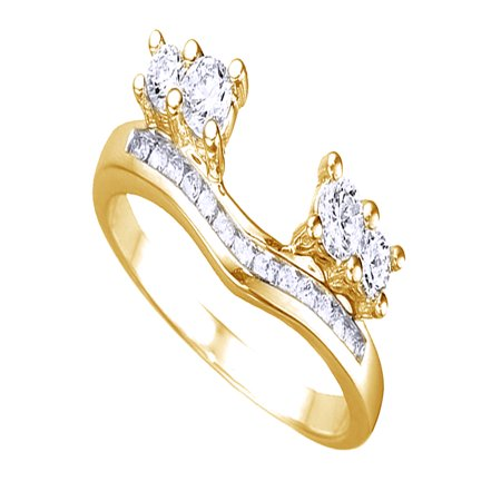 White Cubic Zirconia Anniversary Wrap Enhancer Ring In 14k Yellow Gold Over Sterling - Ring Wraps Enhancers