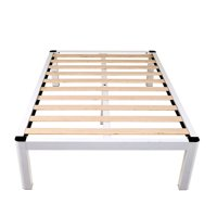 """intelliBASE 14"""" Deluxe White Metal Platform Bed Frame with Wooden Slats, Queen"""