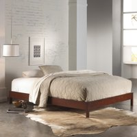 Murray Complete Wood Platform Bed with Bedding Support System and Box Design, Mahogany Finish, Twin