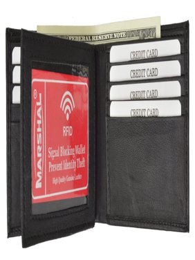 RFID Blocking Premium Soft Leather Mens Multi Card Compact Center Flip Bifold Wallet RFID P 52 (C) Black