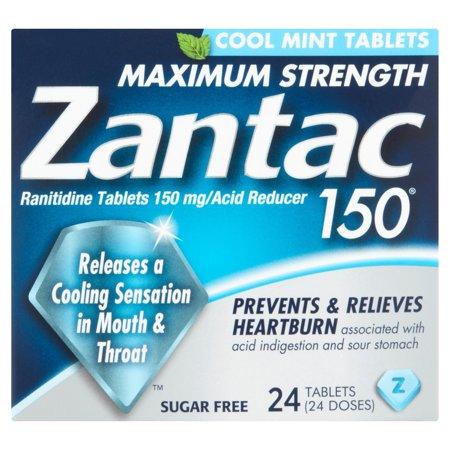 Zantac 150 Cool Mint Maximum Strength Ranitidine Acid Reducer Tablets, 24ct Acid Reducer 150 Mg Tablets
