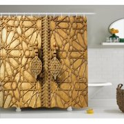 Moroccan Decor Shower Curtain Set Main Golden Gates Of Royal Palace In Marrakesh Morocco