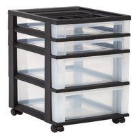 IRIS 4-Drawer Storage Cart with Organizer Top, Black