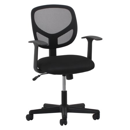 Essentials by OFM ESS-3001 Swivel Mesh Back Task Chair with Arms, Black Array Small Back Chair