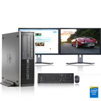 "HP DC Desktop Computer 3.0 GHz Core 2 Duo Tower PC, 4GB, 500 GB HDD, Windows 7 x64, 19"" Dual Monitor , USB Mouse & Keyboard (Refurbished)"