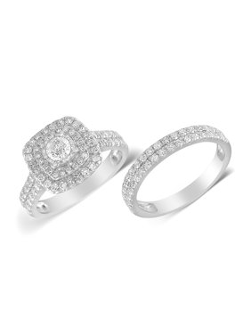 1.5 cttw Cushion Double Halo Diamond Bridal Ring Set (I-J, I2-I3) in 10K White Gold for Engagement and Wedding