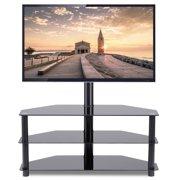 52e4222f3 Rfiver Black Corner Floor TV Stand with Swivel Mount Bracket for for 32 37  42 47