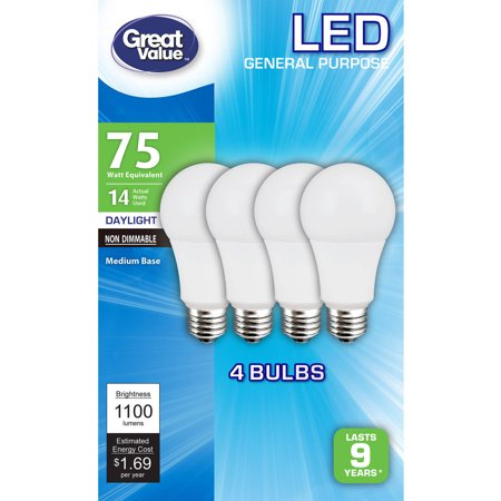 Great Value LED A19 (E26) Light Bulbs, 14W (75W Equivalent), Daylight, 4-Pack