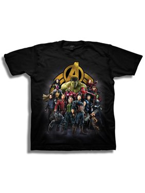 Avengers Infinity War Boys' Superhero Group Shot with Logo Short Sleeve Graphic T-Shirt