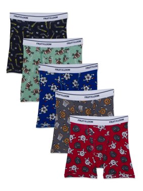 Fruit of the Loom Assorted Print Boxer Briefs, 5 Pack (Toddler Boy)