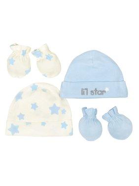 Newborn Baby Boy Organic Cap and Mittens Set, 4pc