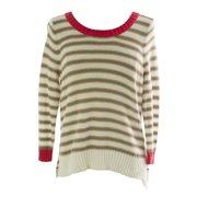 1b6a96bfcfbd3 August Silk Women s Striped 3 4 Sleeve Sweater Large White Beige Combo