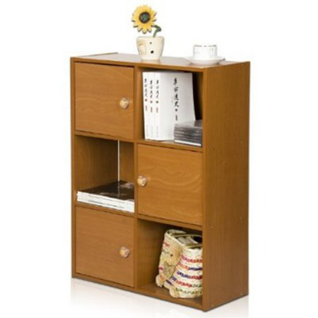 Furinno 11189 Pasir 3-Tier Shelf with 3 Doors with Round Handle