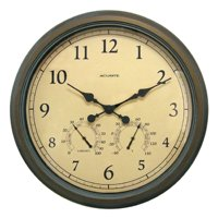 """24"""" Copper Patina Indoor or Outdoor Wall Clock with Thermometer"""