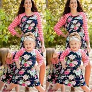 New Family Matching Outfits Mother Daughter Dress Girls Kids Mom Fashion  Striped Skirt d3f96248579f