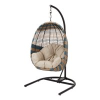 Better Homes & Gardens Two-Tone Patio Wicker Hanging Chair with Stand and Beige Cushion