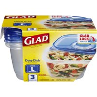 (2 pack) Glad Food Storage Containers - Deep Dish Container - 64 oz - 3 Containers