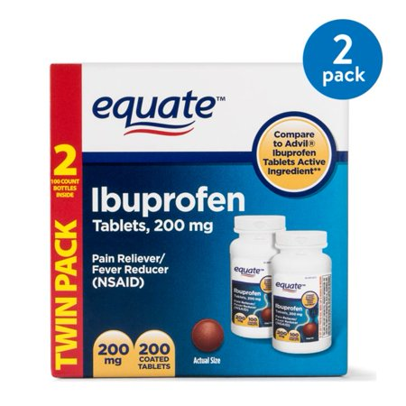 (2 Pack) Equate Pain Relief Ibuprofen Coated Tablets, 200 mg, 100 Ct, 2 -