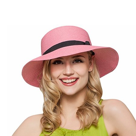 PaZinger Women Floppy Sun Beach Straw Hats Wide Brim Packable Summer Cap