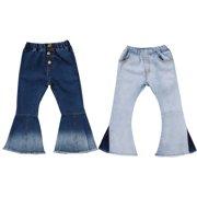 38cdd6fcdc960 Toddler Little Kid Girls Denim Jeans Bell Bottom Flare Pants Leggings  Trousers