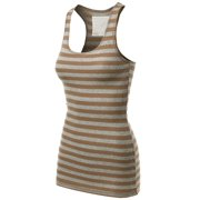 d4645afc18 FashionOutfit Women's Basic Sleeveless Ribbed Racer-Back Stripe Tight Fit Tank  Top