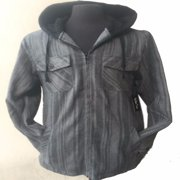Tall & Warm Men's Full Zip Hooded Flannel & Sherpa Lined Long Sleeve Soft Fabric Warm Hoodie Jacket