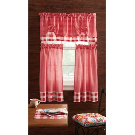 The Pioneer Woman Charming Check 3-Piece Kitchen Curtain Tier And Valance Set, Red, Multiple Colors