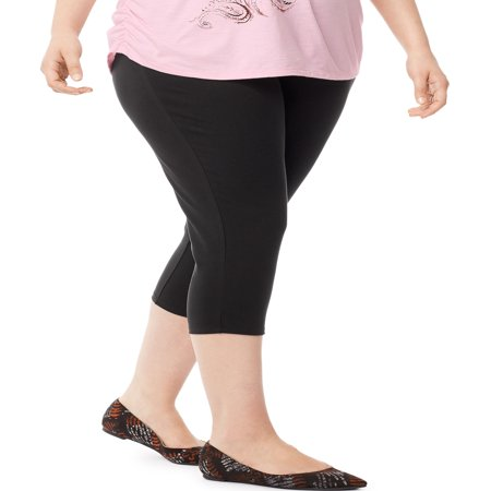 Women's Plus-Size Stretch Jersey Capri (Black Stretch Capris)