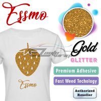 "ESSMO Gold Glitter Heat Transfer Vinyl HTV Sheet T-Shirt 20"" Wide Iron On Heat Press 20""x12"""