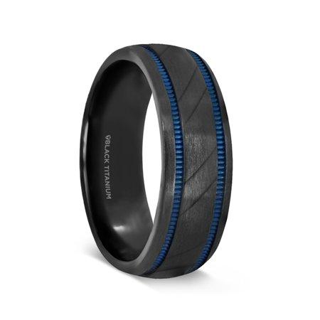 Patrol Black Titanium Carved Diagonal Pattern Brushed Finish Mens Wedding Ring With Blue Milgrain Grooves