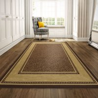 Ottomanson Ottohome Collection Contemporary Bordered Design Non Slip Rubber Backing Modern Area or Runner Rug, Brown