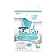 Schick Intuition Sensitive Care With Natural Aloe Women's Razor - 1 Razor Handle Plus 2 Refill Razor Blades