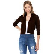 e440707c8fcba9 Women s Soft Solid Open Front Cropped 3 4 Sleeve Bolero Shrug Cardigan  Sweater