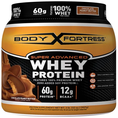 Body Shake Chocolate Peanut Butter - Body Fortress Super Advanced Whey Protein Powder, Chocolate Peanut Butter, 60g Protein, 2 Lb