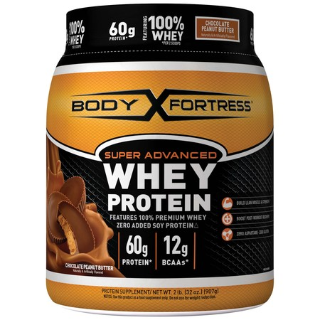 Body Fortress Super Advanced Whey Protein Powder, Chocolate Peanut Butter, 60g Protein, 2