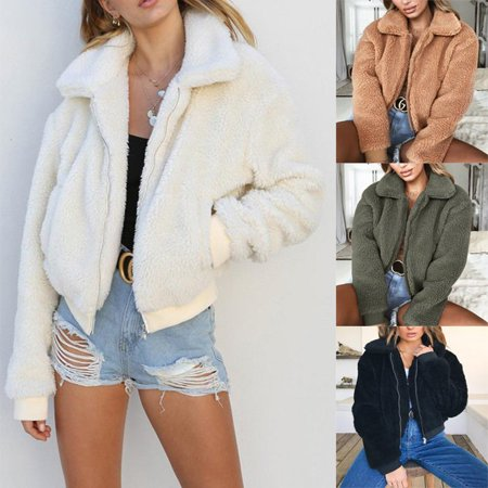 US Women's Lady Teddy Bear Faux Fur Coats Jacket Borg Outwear Oversized (Fur Womens Mink Coat)
