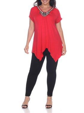 Women's Plus Size Embellished Short Sleeve Tunic Top