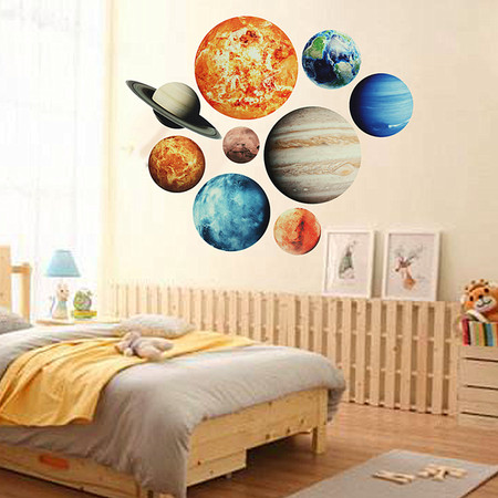 Solar System Wall Stickers Glow In The Dark 9#Planets Mars Outer Space Decal Bedroom
