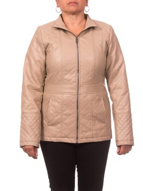 Women's Plus Size Faux Leather Diamond Quilted Zip-Front Jacket